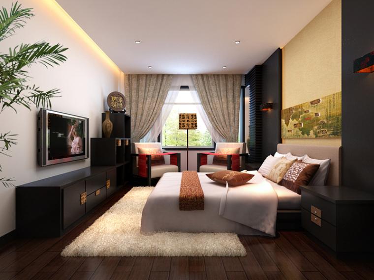 新中式舒适卧室3D模型下载