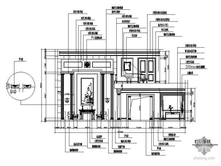 欧式别墅客厅立面图_2