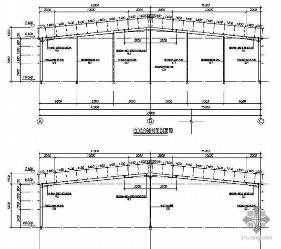 某60mX30m单层双坡轻型门式钢结构厂房全套结构图