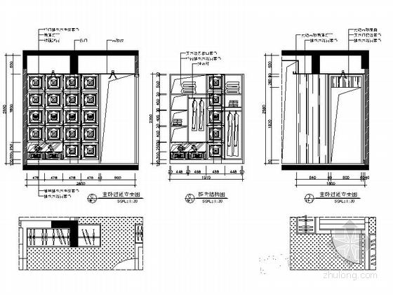 [广西]简欧风格四居室样板房装修图(含效果)主卧过道立面图