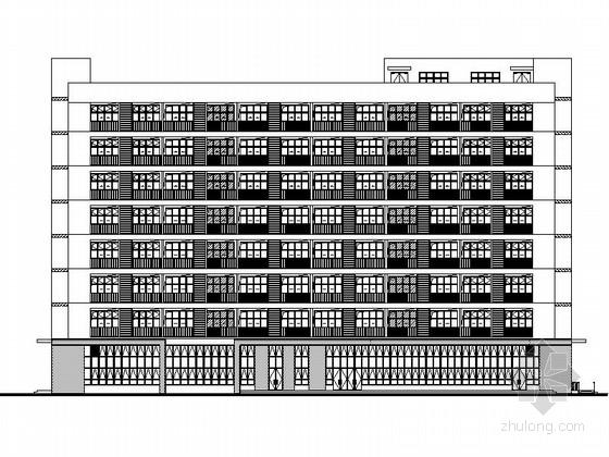 [湖北]八层框架结构涂料外墙办公楼建筑施工图