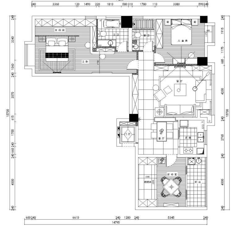 后现代风格三居室施工图设计(附效果图)