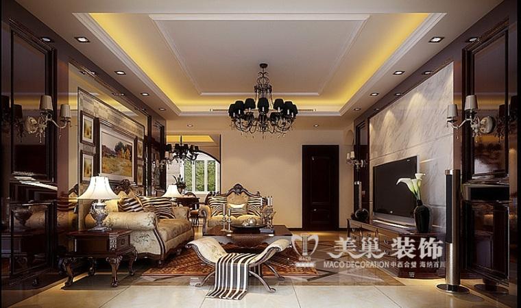 建业天筑160平新古典装修,浓烈色彩彰显高品位生活节奏