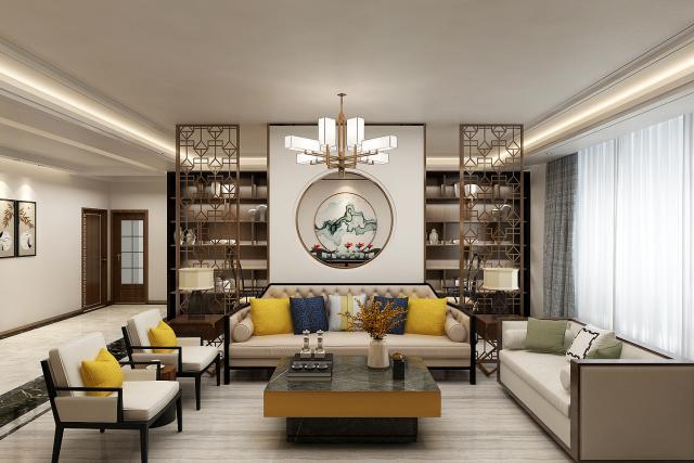 客厅 (3)-新中式风格第1张图片