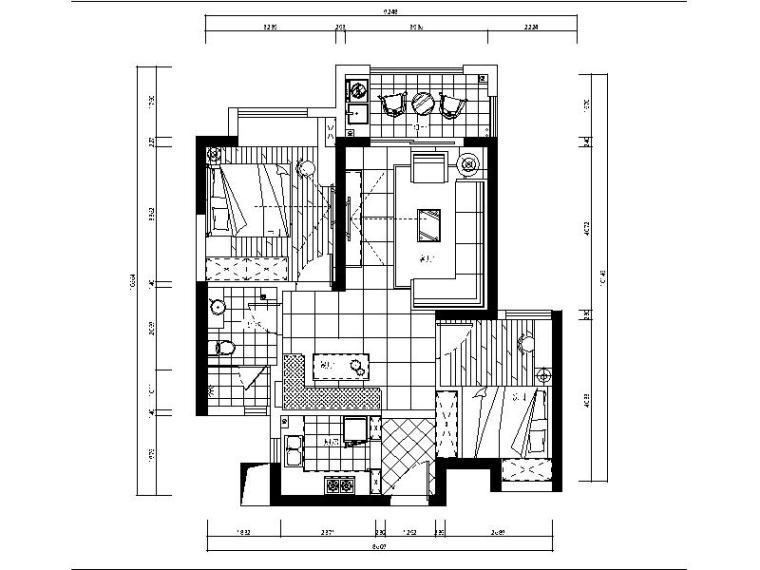 [武汉]动感活泼的两居室施工图(含效果图和3D模型)