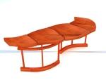 室外木制景观椅3D模型下载