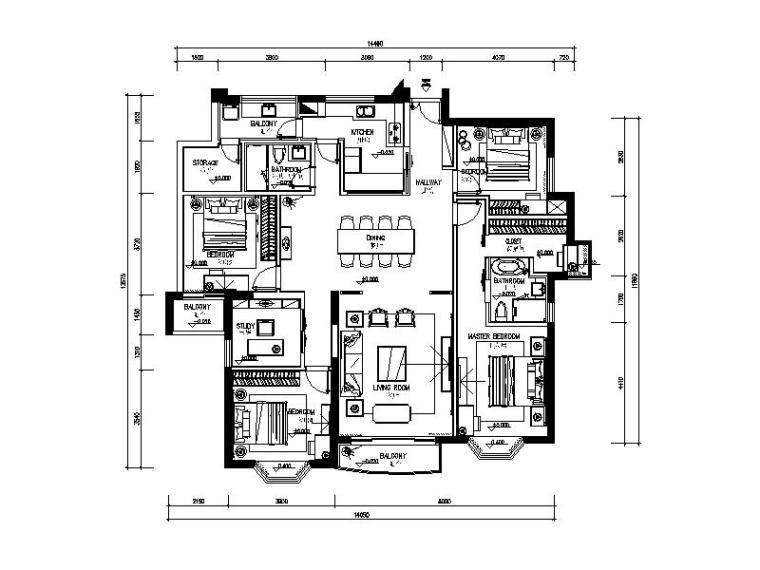 中式风格大型住宅板间设计CAD施工图(含效果图)