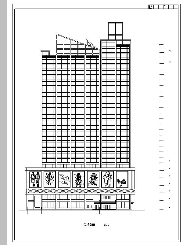 3套商住综合楼建筑设计施工图CAD-现代高层商住综合楼建筑设计立面图