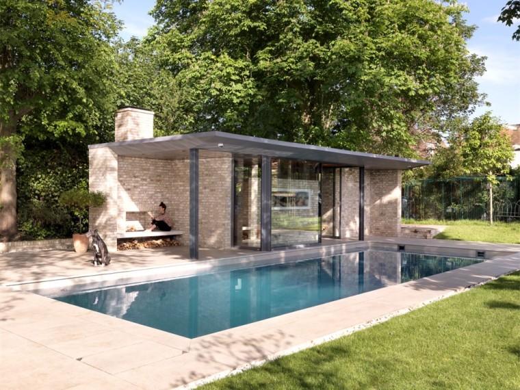 英国一对亭子和游泳池景观-1