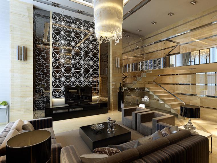 时尚别墅客餐厅3D模型下载