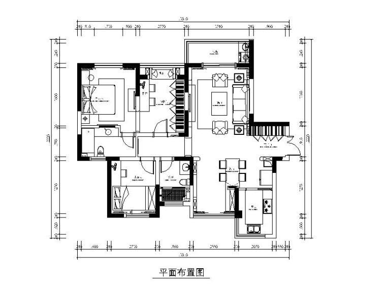 [江苏]地中海风格样板房设计CAD施工图(含效果图)