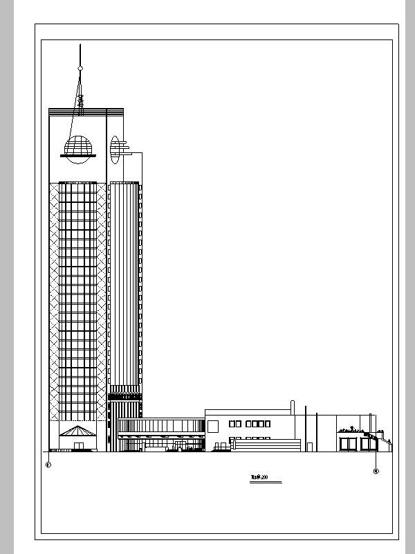 后现代高层宾馆酒店建筑设计方案施工图CAD