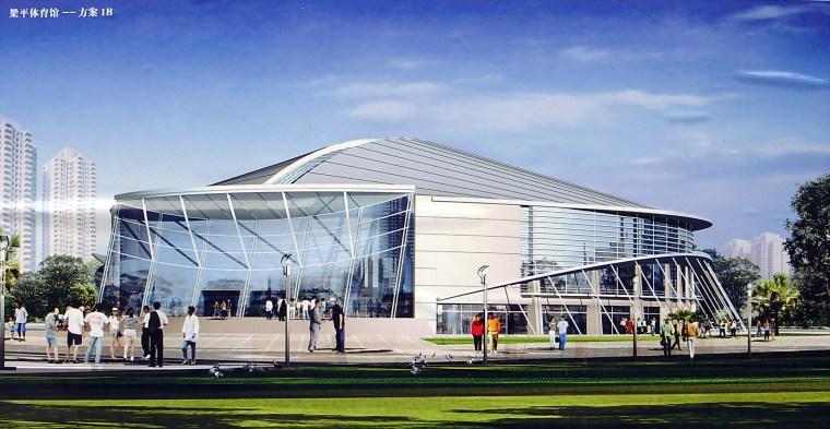 某大学后现代体育馆建筑设计方案(效果图及施工图CAD)
