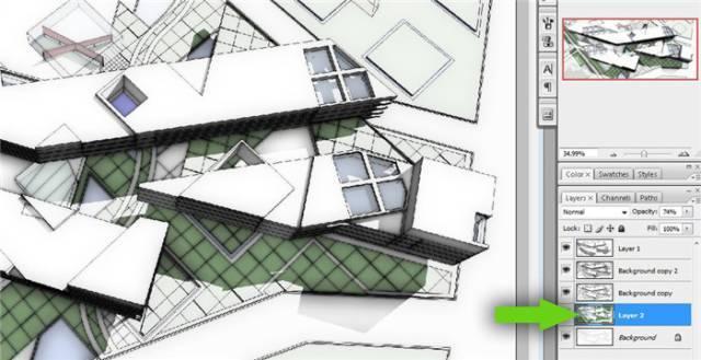 干货 SketchUp+photoshop快速渲染制作建筑景观效果图教程_14