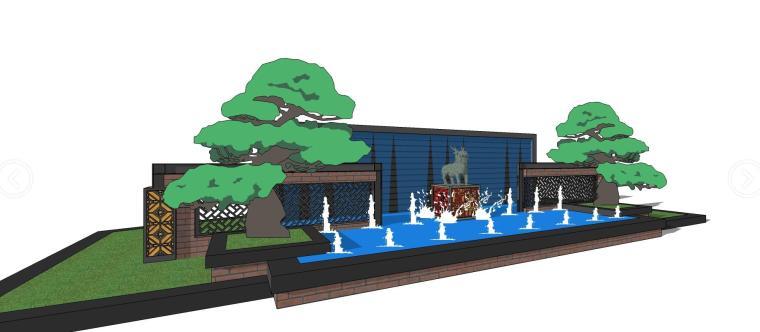 中式水景景墙su模型设计