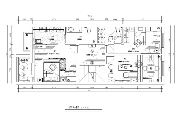 [福建]某三层别墅空间室内装修施工平面图