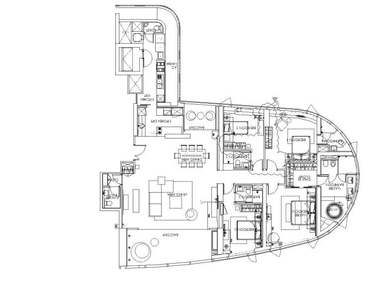 梁志天——现代简约风格样板间精装全套施工图(附实景照片)