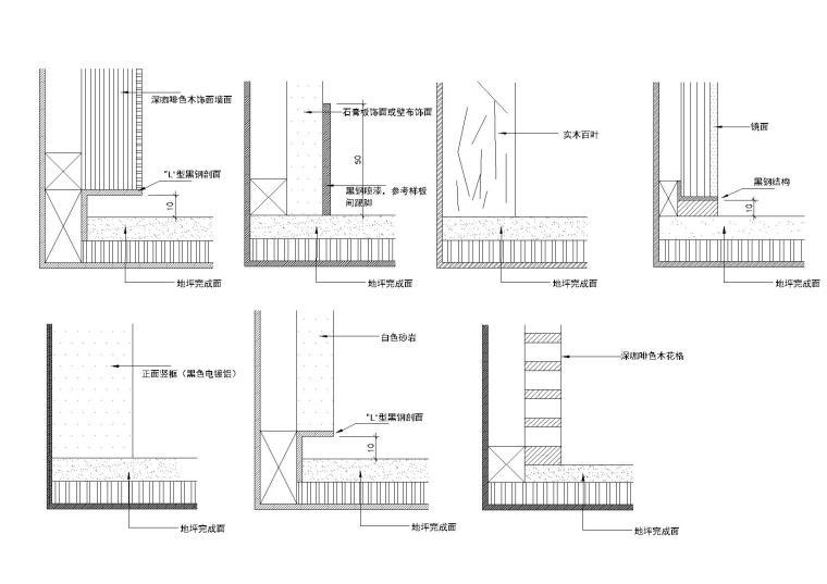 [金螳螂]40个CAD施工图收口详图-墙地面收口
