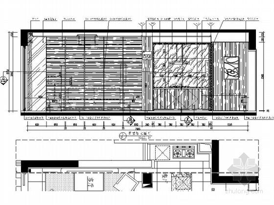 [杭州]现代简约三居室样板间装修图(含效果)客厅餐厅立面图