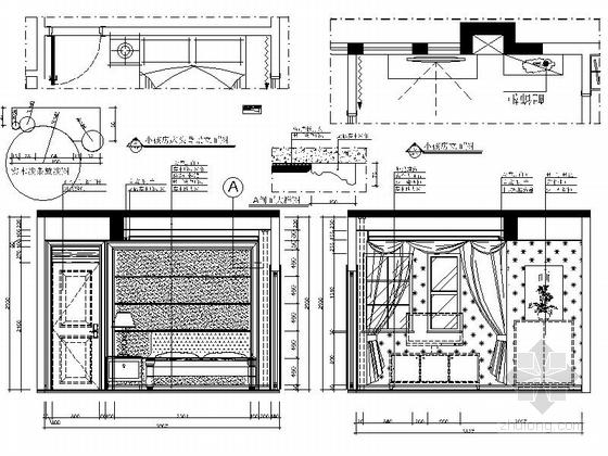 [郑州]北环商圈区典雅新中式三层别墅装修施工图小孩房立面图