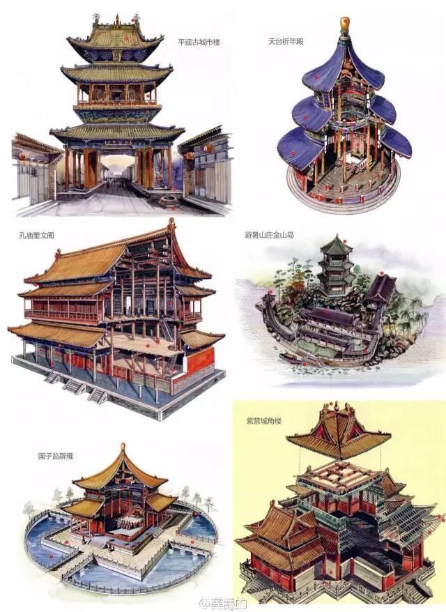 这些手绘的古代建筑,真有种气势磅礴的赶脚!!!