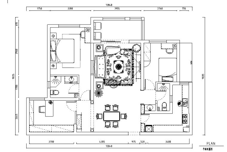 1979奶茶小调三居室样板房设计施工图(附效果图)