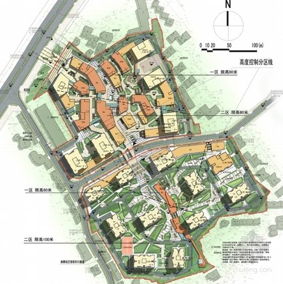 [重庆]围合式空间城市综合体规划设计方案文本(设计精彩推荐参考)-围合式空间城市综合体规划总平面图