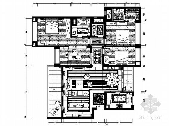 高端时尚欧式四室两厅样板房装修图