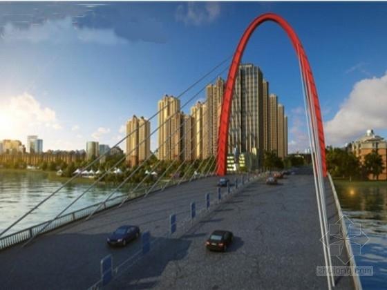[河南]27+2x84+27m拱型塔斜拉桥施工图131张(桥宽40m 国际知名公司)