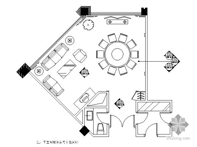 中餐厅中包间施工图