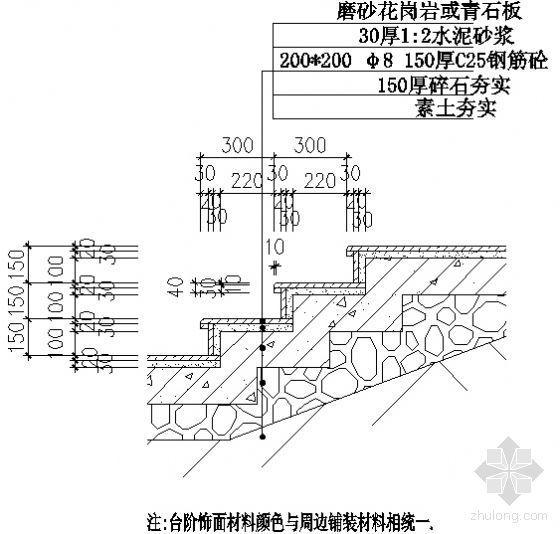 磨砂花岗岩或青石板台阶详图