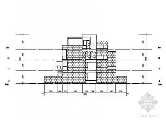 [四川]三层阶梯状别墅建筑施工图(含多套方案)-三层阶梯状别墅建筑立面图