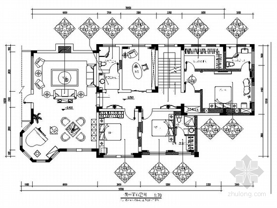 精品古典欧式风情三层别墅室内CAD装修图(含效果)