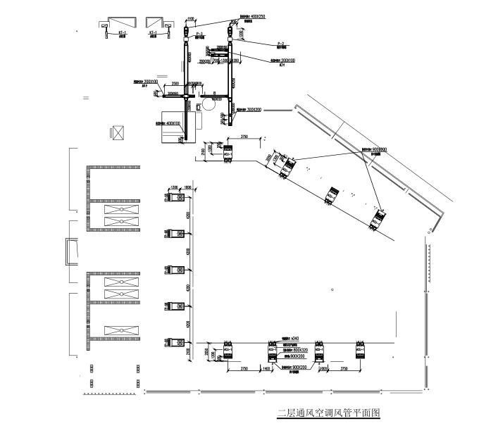 四层框架结构食堂全套施工图(建筑结构水电暖)-一层通风空调风管平面图
