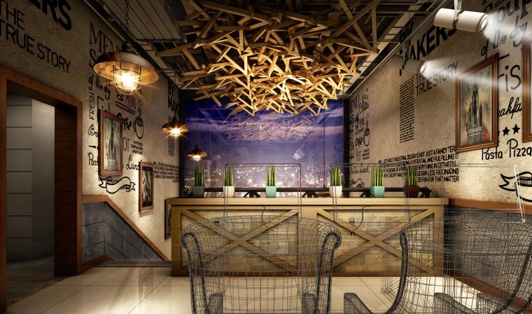 英伦风网吧网咖室内空间设计施工图(附效果图)-楼梯间