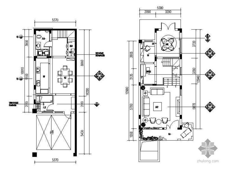 [重庆]三层联排别墅施工图(装饰+水电+效果图)