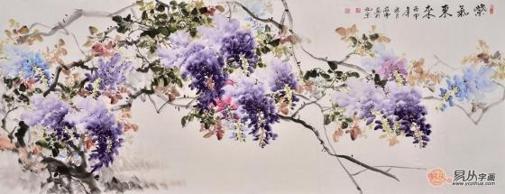 蒋伟六尺横幅写意花鸟画紫藤图《紫气东来》 作品来源:易从网图片