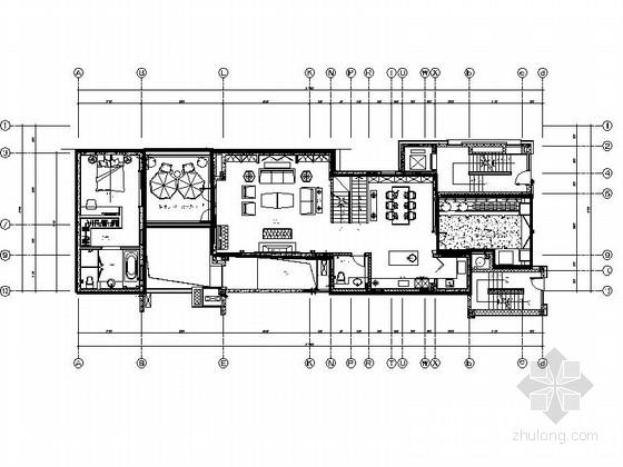[重庆]清新高雅法式风格叠拼别墅室内装修cad施工图(含效果)图片