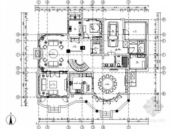 精品豪华现代风格两层别墅装修室内设计施工图(含效果)
