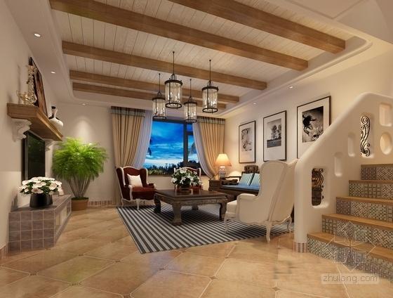 名师设计田园风情复式样板间装修施工图(含效果)客厅效果图