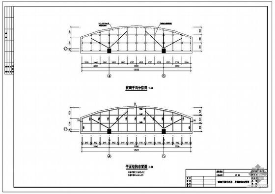 某弧形钢结构玻璃雨篷结构图