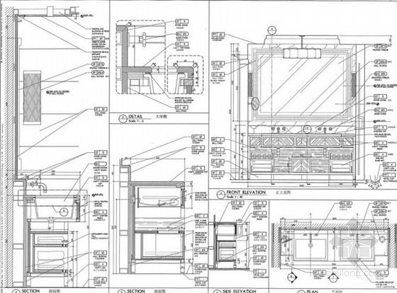 花园大酒店总统套房室内设计方案剖面图