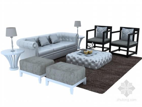中西混搭沙发3D模型下载