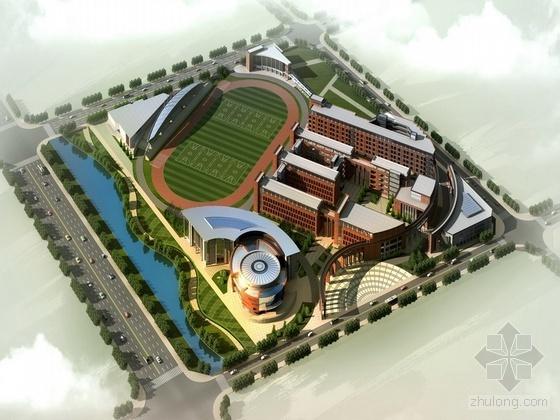 某中学建筑方案效果图