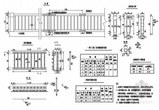 预应力混凝土栏杆详图设计资料下载-预应力混凝土T梁普通栏杆构造节点详图设计