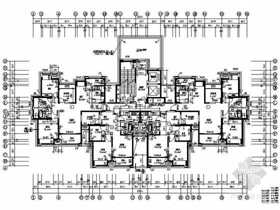 一梯四高层住宅户型平面图(118、88平方米)
