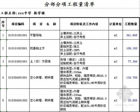 [安徽]教学楼建筑及安装工程量清单计价实例(附图纸及软件文件)-分部分项工程量清单(土建)