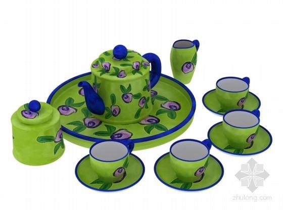 绿色茶具3D模型下载