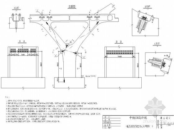 桥梁V腿及墩身预应力束布置图CAD(Y形腿 中铁)