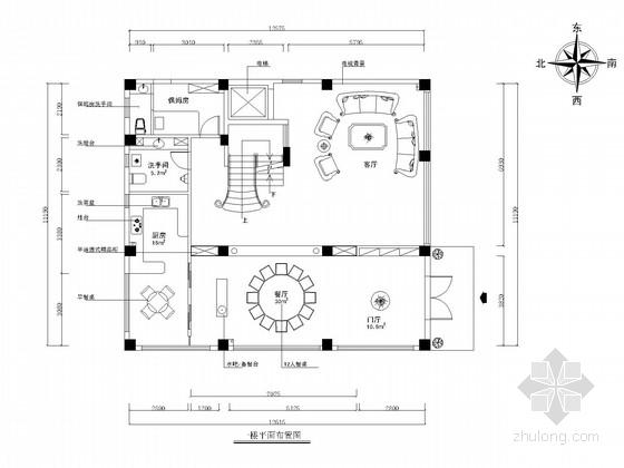 [厦门]四层高档别墅简欧风格CAD装修施工图